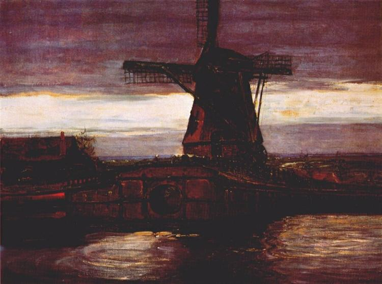 Stammer Mill with Streaked Sky, 1905 - 1906 - Piet Mondrian