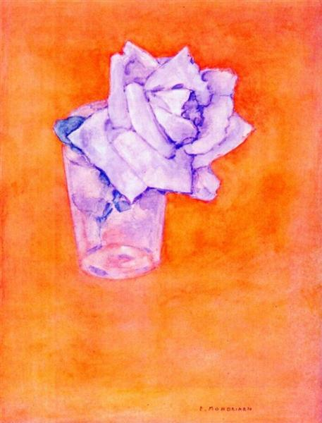 White Rose in a Glass, 1921 - Піт Мондріан