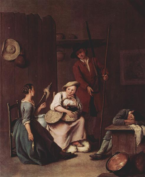 The hunters and the farmers - Pietro Longhi