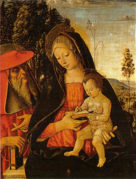Madonna with Writing Child and St. Jerome, 1481 - Pinturicchio
