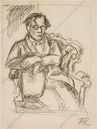 Sketch of portrait of of the writer Sukhotin, 1934