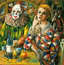Harlequin and clown with mask - Rafael Zabaleta