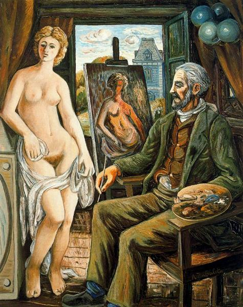 Model and painter with easel, 1945 - Rafael Zabaleta