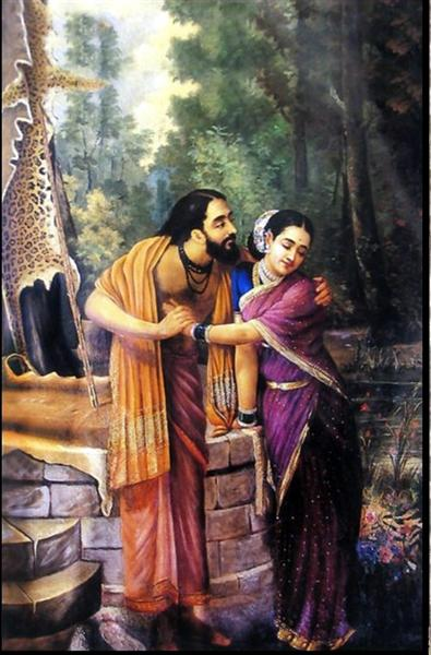 Arjuna and Subhadra, 1890 - Ravi Varma