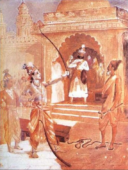Sri Rama breaking the bow - Raja Ravi Varma