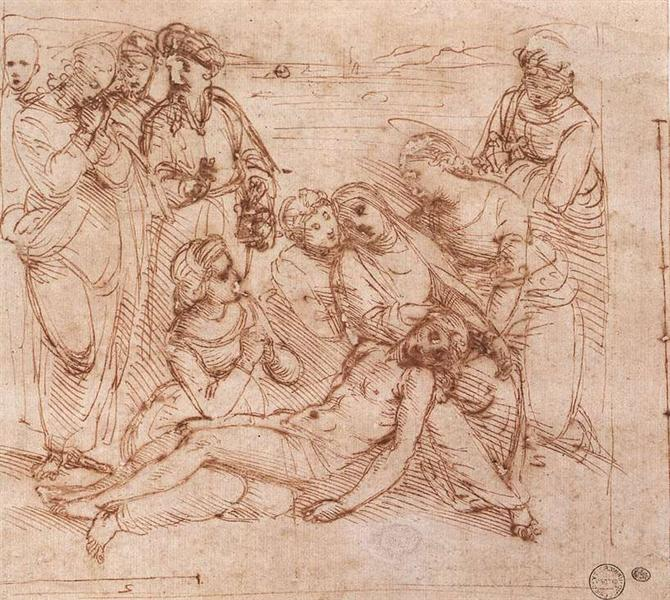 Lamentation over the Dead Christ, c.1505 - Рафаель Санті