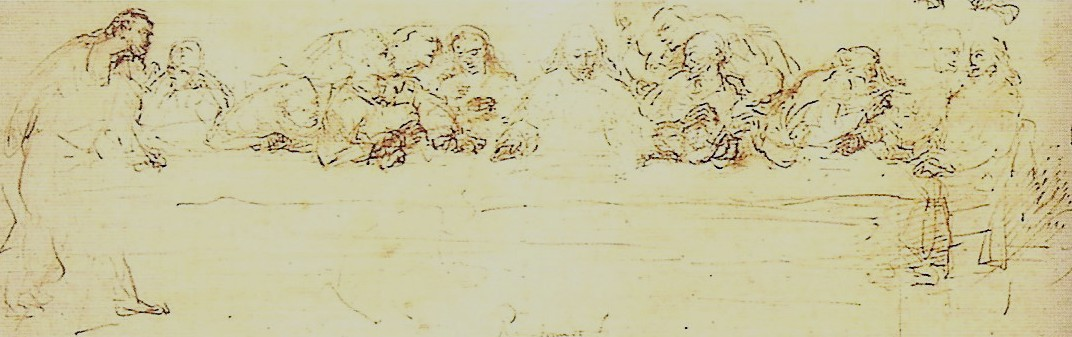 Drawing of the Last Supper, 1635 - Rembrandt - WikiArt.org Da Vinci Last Supper Original