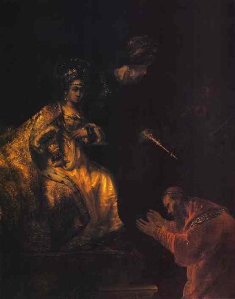Haman Begging Esther for Mercy, c.1635 - c.1660 - Rembrandt