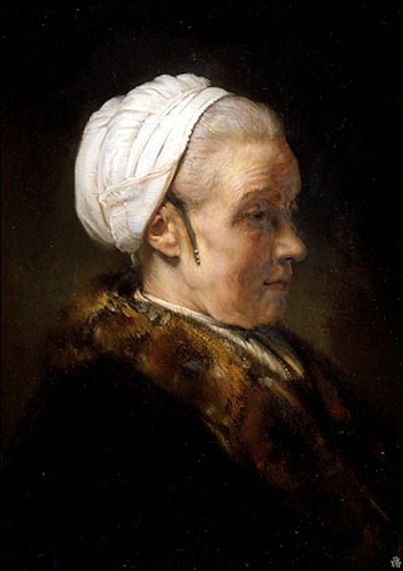 lighting study of an elderly woman in a white cap c1640