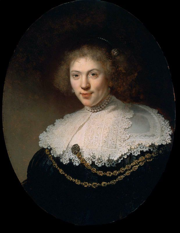 portrait of a woman wearing a gold chain rembrandt