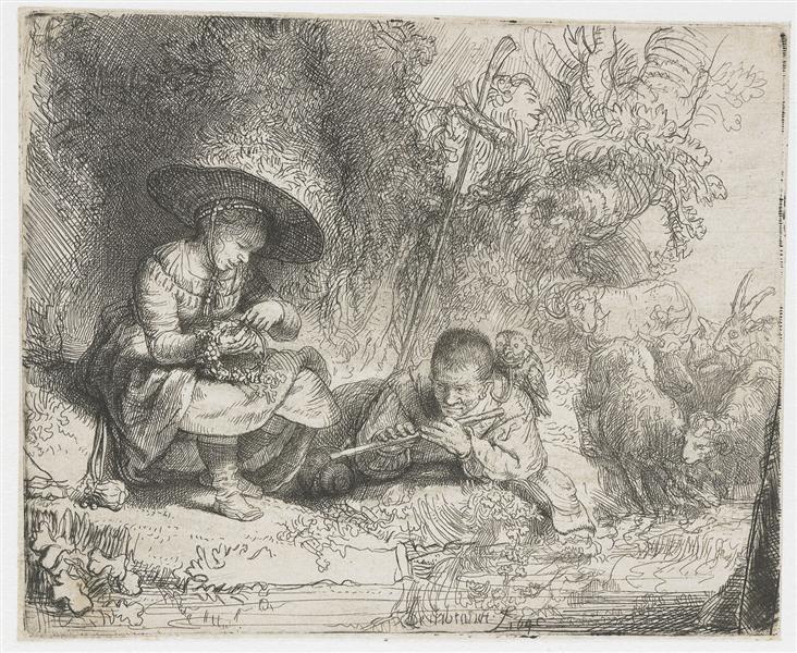 Флейтист, 1642 - Рембрандт