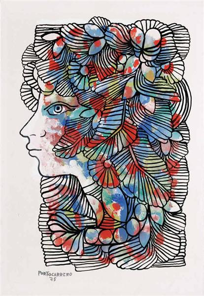 Ornamented Head of a Woman, 1975 - Rene Portocarrero