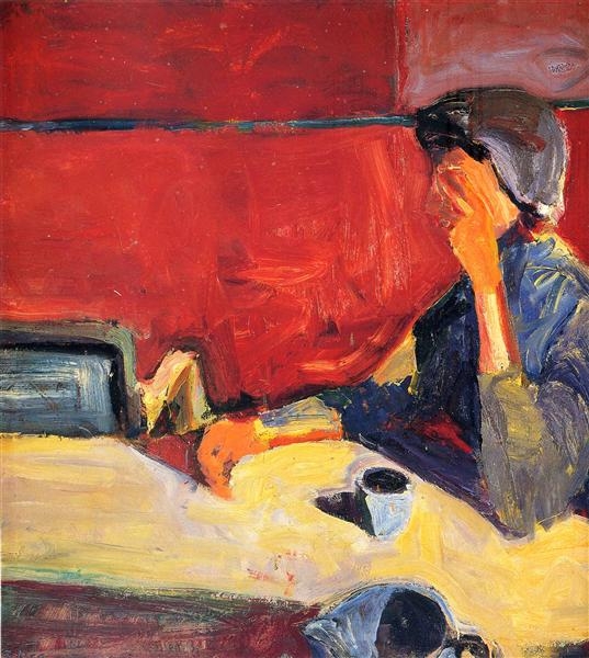 Woman at Table in Strong Light - Richard Diebenkorn