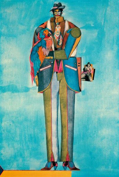 Man with Parrot - Richard Lindner