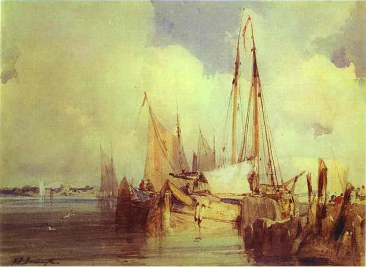 French River Scene with Fishing Boats, 1824 - Richard Parkes Bonington