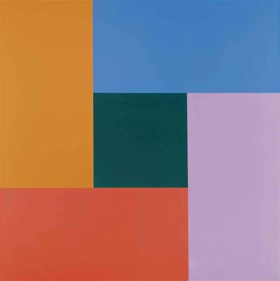 Bewegung von dunkelgelb über rot, violett, blau zu grünem Zentrum - Ріхард Пауль Лозе