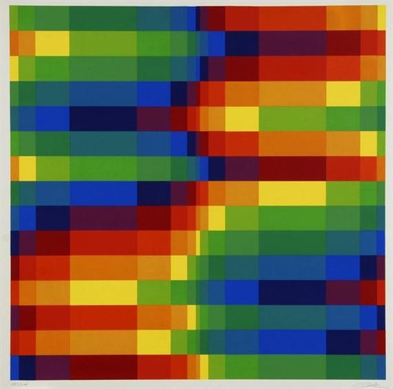 Fünfzehn systematische Farbreihen mit vertikalen Verdichtungen, 1969 - Richard Paul Lohse