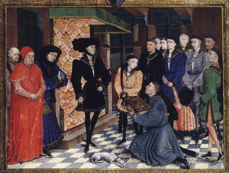 Miniature from the first page of the Chroniques de Hainaut, 1448 - Rogier van der Weyden