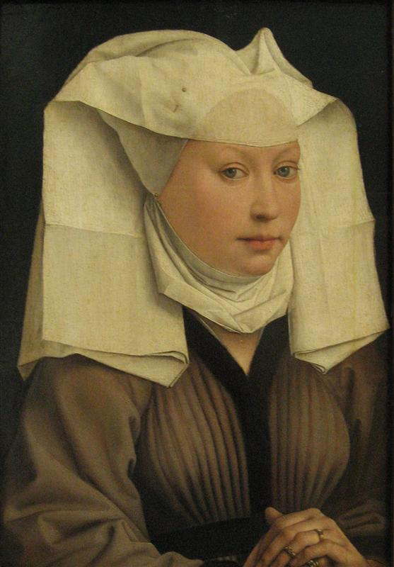 Portrait of a young woman in a pinned hat. Roger Van Der Weiden. 1435