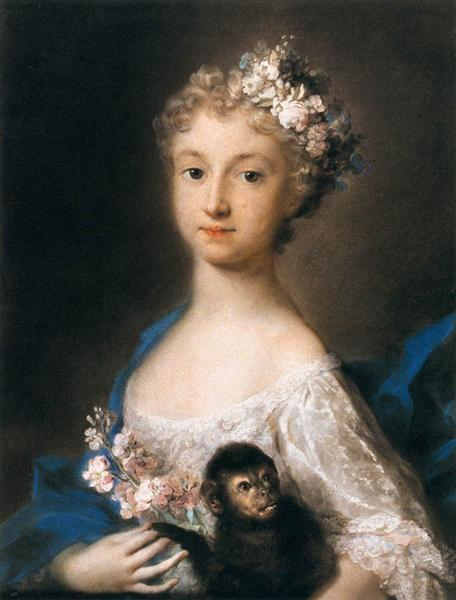 Young Girl Holding a Monkey, 1721 - Rosalba Carriera