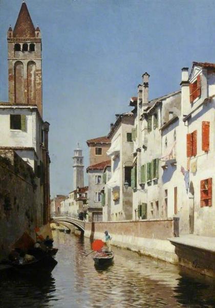 A Canal Scene, Venice - Rubens Santoro