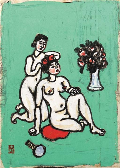 Nude arranging coiffure - Umehara Ryuzaburo