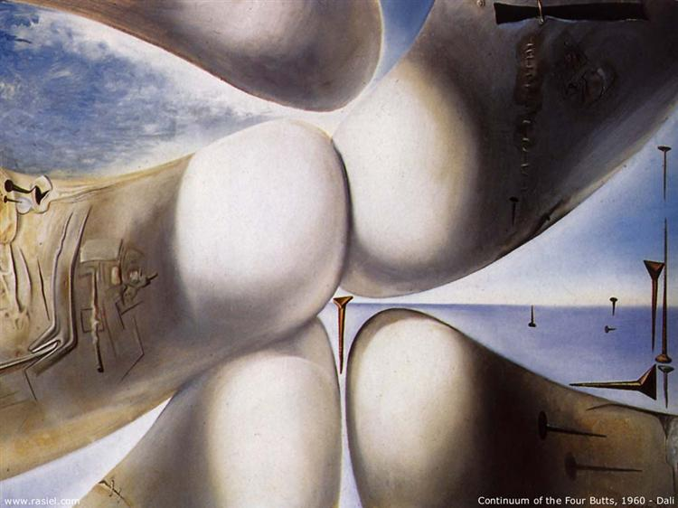 Goddess Leaning on Her Elbow - Continuum of the Four Buttocks or Five Rhinoceros Horns Making a Virgin or Birth of a Deity, 1960 - Salvador Dali