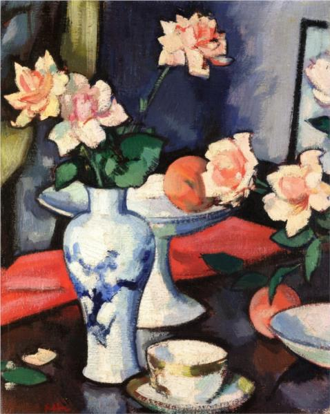 Still Life with Roses in a Chinese Vase, 1927 - Samuel Peploe
