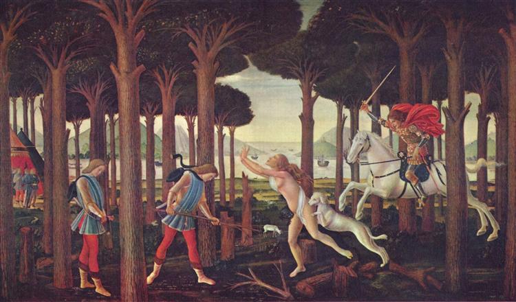 The Story of Nastagio degli Onesti (I), from The Decameron, by Boccaccio, 1483 - Sandro Botticelli