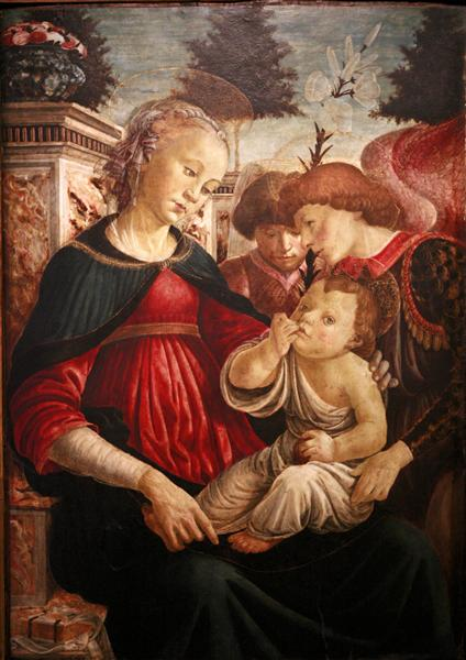 Virgin and child with two angels - Sandro Botticelli