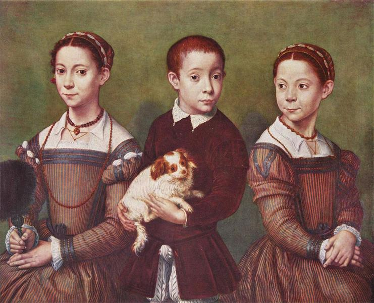 Three children with dog, 1590 - Sofonisba Anguissola