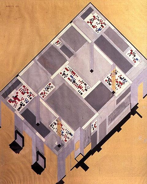 Draft for the tearoom on the ground floor of the Cafe Aubette, 1926 - Sophie Taeuber-Arp