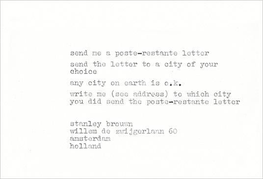 Poste-restante letter, 1970 - Stanley Brouwn