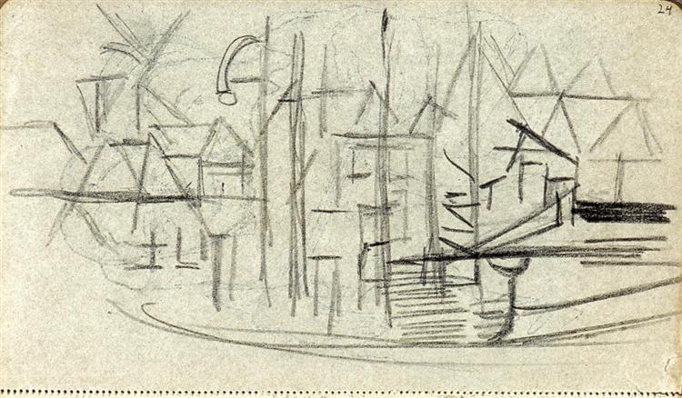 Abstracted cityscape from sketchbook 130 - Theo van Doesburg