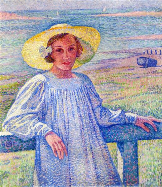 Elisaeth van Rysselberghe in a Straw Hat, 1901 - Theo van Rysselberghe