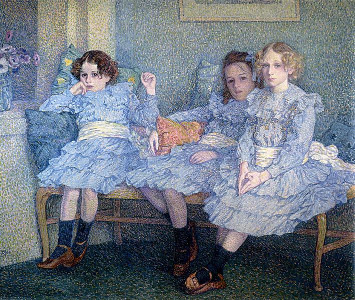 Three Children in Blue, 1901 - Theo van Rysselberghe