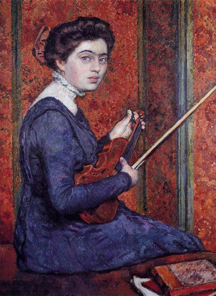 Woman with Violin (Portrait of Rene Druet), 1910 - Theo van Rysselberghe
