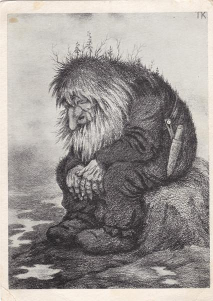 Troll wonders how old he is - Trollet som grunner på hvor gammelt det er, 1911 - Theodor Severin Kittelsen