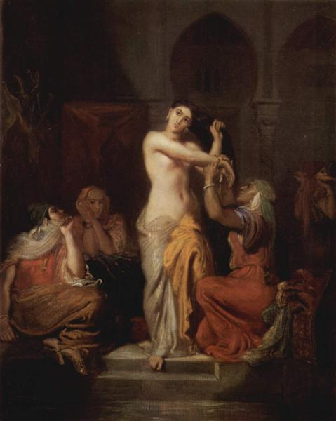 Interior of the harem, womam of Constantine coming out of the bath, 1854 - Theodore Chasseriau