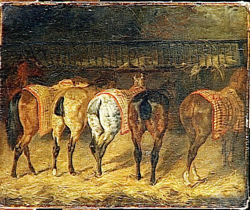 Five horses seen from behind with croupes in a stable - Theodore Gericault