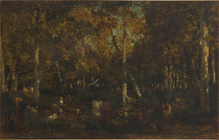 Inside the forest grove at Vieux Dormoir du Bas-Bréau (Fontainebleau forest), 1867 - Теодор Руссо