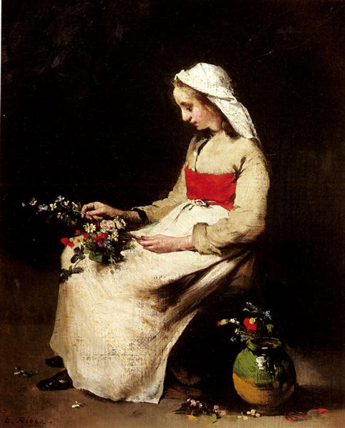 A Girl Arranging a Vase of Flowers - Theodule Ribot