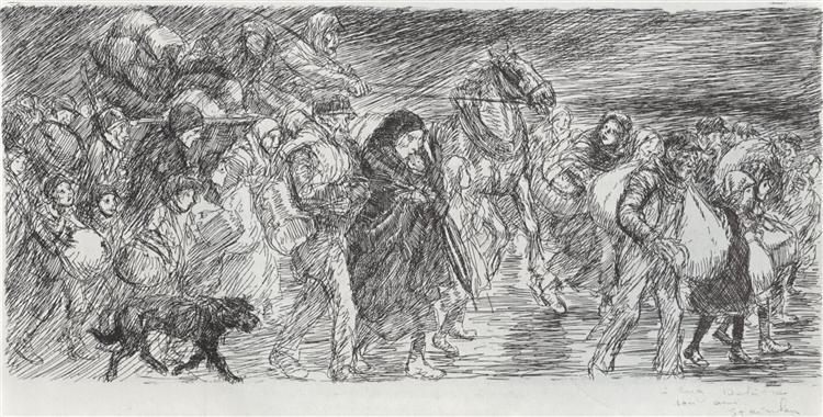 Exode - en longeur, 1915 - Theophile Steinlen