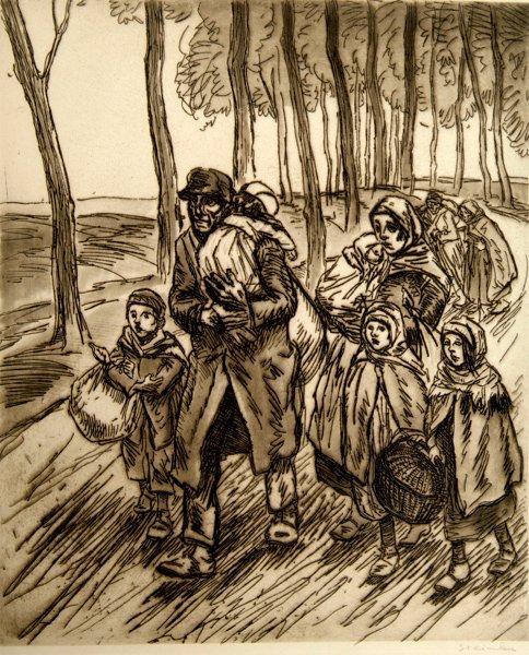 Famille En Fuite, 1915 - Theophile Steinlen