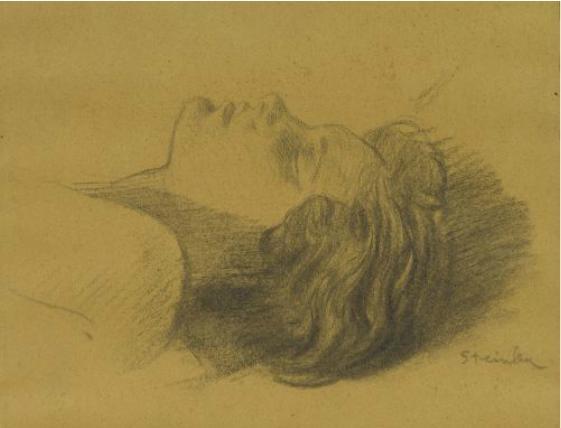 Head of Sleeping Woman - Theophile Steinlen