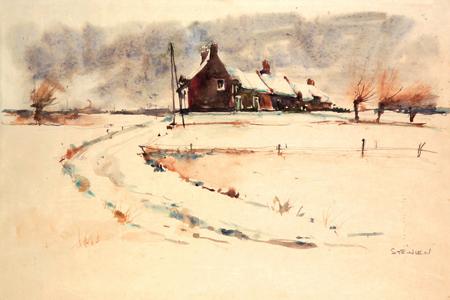 Snow landscape - Теофиль Стейнлен