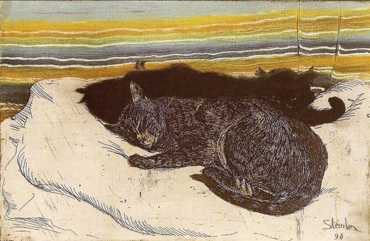 Two cats - Theophile Steinlen