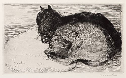 Two Sleeping Cats, 1914 - Theophile Steinlen