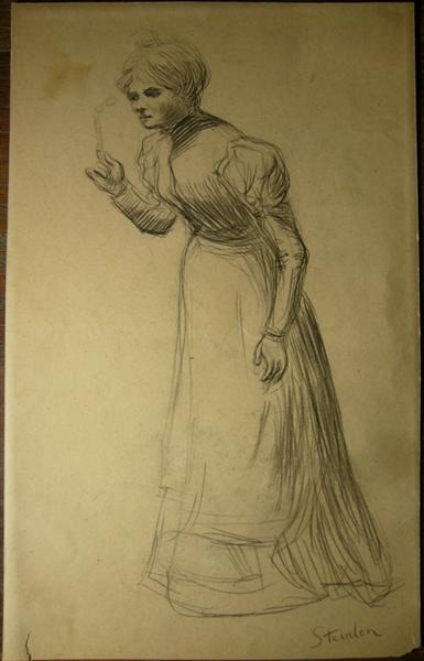 Woman holding lorgnon - Theophile Steinlen
