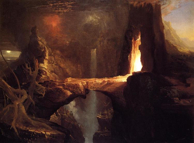 Expulsion. Moon and Firelight, c.1828 - Thomas Cole